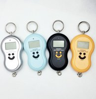 Wholesale 10pcs Kg g Smile portable Face Hanging hoist weight Digital LCD display handle hook weighting Fishing Pocket Luggage Scale with BackLig