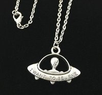 Wholesale I Believe - Antique silver I want to believe UFO pendant necklace alien space ship pendant necklace for holiday Gift - Free organza bags gift
