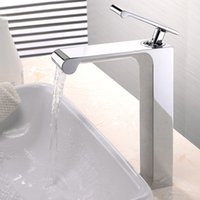 Wholesale Unique Bathrooms - Free shippping Unique Desing Single Handle Waterfall Basin Faucet Tap Deck Mounted Brass Hot and Cold Bathroom basin Faucet BF758