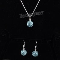 Wholesale Shamballa Necklace Women - Rhinestone Shamballa Jewellery Set Lake Blue Disco Ball Pendant Earrings And Necklace For Women 10 Sets Wholesale