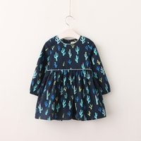 Wholesale Down Lining - Everweekend Sweet Children Print Cacti Autumn Ruffles Girls Long Sleeves Dress Clothing Blue and Yellow 2 Colors Baby Dress