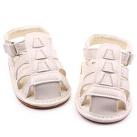 Wholesale Pink Infant Sandals - New Wholesale Soft TPR Hard Sole Baby Shoes PU Leather Gladiator Sandal Hook&Loop Infant Prewalker Wedding Shoes for Girls Boys Zapatos Bebe