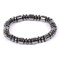 Wholesale String 6mm - Hand Strings Nature Hematite Black Bracelet Necklace 6MM 8MM Beads Barrel Beaded Magnetic Therapy Bracelet Wrist Wrap for Sports Men Women