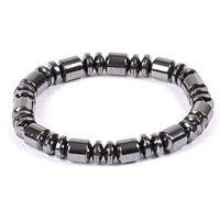 ingrosso braccialetto dell'involucro di 6mm-Mano stringhe natura ematite braccialetto nero collana 6mm 8mm perline barile in rilievo terapia magnetica braccialetto da polso per gli uomini sportivi donne