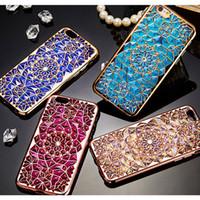 iphone plaqué or de diamant achat en gros de-De luxe bleu or rose placage cas 3D robuste diamants de fleurs téléphone cas TPU couverture souple pour Iphone 6 6S 4.7 / plus iphone7