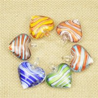 Wholesale Glass Heart Bulk - 2016 Glass Pendants Necklace Heart Love Shaped Murano Glass Jewelry Lampwork Glaze Pendant in Bulk Cheap 12pcs lot