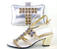 Wholesale African Matching Shoe Bag - New Style of Women Italian shoes with bags to match in silver, Fashion African shoes and bag sets for party dresses 37-43