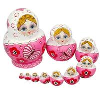 blumenstrauß spielzeug diy großhandel-10 STÜCKE Holz Matroschka Puppe Rosa Holz Russische Nesting Dolls Geschenk Matreshka Kunsthandwerk für Mädchen Weihnachtsgeschenke