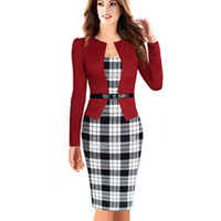 Wholesale Formal Elegant Dresses For Ladies - Wholesale-Womens Elegant Business Suits Blazer with Skirts Formal Office Suit Work Uniform Designs Ladies Grid Pencil Dress for Women