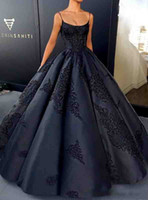 Wholesale Back Up Online - Black Ball Gown Evening Dresses with Lace Appliques Spaghetti Straps Prom Dresses Sexy Backless Red Carpet Dresses 2018 Online