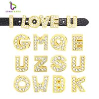 "Wholesale English Alphabet Letters - 130pcs 8mm Full Rhinestone Gold Letters English Alphabet "" A-Z ""DIY Slide letter Charm fit Bracelet  wristband LSSL07*130"