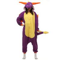Wholesale Purple Christmas Presents - Japen Kigurumi Pajamas Adult Purple Dragon Sleepwear Cosplay Christmas Halloween Costume Gift Present Onesies Party Jumpsuit