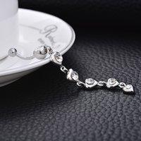 bijoux de ponction achat en gros de-Cristal diamant bijoux zircon ponction médicale en acier nombril anneau discothèque danse du ventre bouton nombril