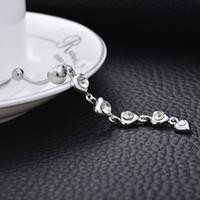 anillos de acero del ombligo de acero al por mayor-Joyas de diamantes de cristal zircon pinchazo acero médico ombligo anillo discoteca botón del ombligo del vientre de la danza del vientre