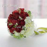 Wholesale Throw Wedding Flowers - Free Shipping High Quality Bridal Bouquet Burgundy Red Rose Ivory Flower with Ribbon Wedding Bridal Throw Bouquet Bridesmaid Flowers New