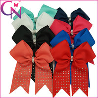 Wholesale Hot Fix White Rhinestones - Wholesale 24 pcs lot 6.5 inch Solid Ribbon Girls Cheer Bow Hot Fix Rhinestone Baby Kids Cheerleading Bows With Alligator Clip