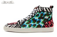 Wholesale High Tops Leopard Print - Size 36-46 Men & Women Leopard Print Leather Genuine Horsehair High Top Red Bottom Fashion Sneakers,Unisex Luxury Brand Comfort Casual Shoes