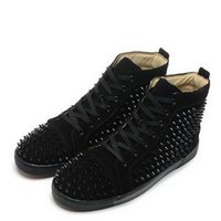 Wholesale Leather Shoes For Woman Prices - Factory Price! Red Bottom Sneakers for Men with Spikes Black Suede Fashion Casual Mens Shoes ,2017 Women Leisure trainer footwear Casual