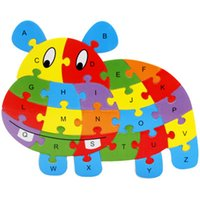 Presentes de crianças de Natal Animal Puzzle Kids Baby Wooden Wooden Puzzle Numbers Alphabet Jigsaw Learning Educational Lnteresting Collection Toy