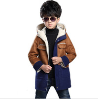 Wholesale Boys Blazer Blue 12 - Children Blazer 2016 Winter Children's Clothing Boys Imitation Suede Coat Baby Boy Thick Lamb's Wool Coat Cotton Jacket Kids Clothes