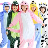 Wholesale Tigger Pajamas Costume - 2017 New Adult Unisex Women Men Pajamas Sets Animal Stitch Panda Unicorn Tigger Owl Halloween Cosplay Costumes Onesie Sleepwear