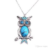 Wholesale Owl Pendant Jewellery - New Women Vintage Turquoise Rhinestone OWL Pendant Long Chain Necklace Jewellery H210972
