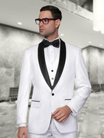 Wholesale Cheap Men S Suit Vests - Wholesale-2016 New Arrival White Tuxedos Black Shawl lapel Wedding suits Cheap Groom Suits Best men suits ( jacket+Pants+vest+tie)