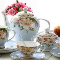 European Fashion Bone China Copo de café cerâmico Conjunto de presente de pote de prato Inglaterra Estilo Royal Coffee 15 Peices Sets