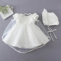 Wholesale Baby Girl Dress 3pcs - Retail 2016 Baby Girl Baptism Christening Easter Gown Dress Embroidery Shwal Cap Formal Toddler Party Dresses 3PCS Set 1780