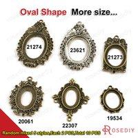 Wholesale Resin Bezels - (19534)10PCS Oval Settings Trays Bezels Base Fit Resin or glass Cabochon Beads for Photo Pendants making Random mixed style