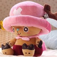 tek parça peluş oyuncak bebek toptan satış-Toptan-Ücretsiz gönderim sevimli 30cm kawaii tony tony kıyıcı tek parça peluş oyuncaklar kıyıcı peluş bebek anime oyuncak doğum günü hediyesi dolması