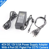 Wholesale Dc Pigtails - 100V-240V DC 12V 8.5A Switching Power Supply Adapter 1 To 4 Power Plug Pigtail With 4 Ways for CCTV Security Camera DVR