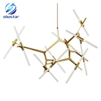 Wholesale Modern Black Italy Chandelier - LED Chandelier Light Modern Gold Black Italy Designer Tree Branch Light Living Room Tree Branch Chandeliers Lampara Agnes