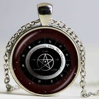 elementos del zodiaco al por mayor-Pagan Elements Wheel Necklace Pentagram Colgante Zodiac Jewelry Pentáculo Necklace Constellation Astrology Horoscope Dome Gargantilla