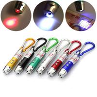 mini aleaciones de anillo al por mayor-3 en 1 linterna LED luz de la antorcha UV antorcha de aleación de aluminio con mosquetón anillo llaveros mini linterna puntero láser rojo