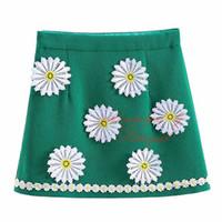 Wholesale Children Wearing Mini Skirts - Pettigirl Fashionable White Daisy Flower Print A-line Above-Knee Skirt For Girls Cute Style Baby Children Beautiful Wear ST90223-640F