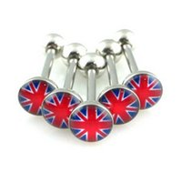 Comercio al por mayor 12 PC Eye / British Flag / Skull Logo Tongue Ring Acero inoxidable 14g Bar Ear Stud Body Piercing estilo punky 8147