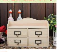 Wholesale Wooden Bin Box - 4pcs Drawers Lockers Zakka 36*25*10cm Wooden Storage Drawers Sundries Cosmetic Organization Drawers Box,Case,Bins,Cabinets