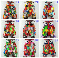 Wholesale modern h - Colorful Ethnic Style Cotton OWl style Colorful Bags Modern Vintage Baby Bags School Bags Chinese Characteristics 11 designs W*H: 25*30CM