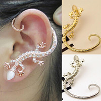 Wholesale luxury ear cuffs - Earcuff Fashion Ear Cuff Rhinestone earrings Cuff Luxury elegant golden Silver Plated exaggerated gecko lizard Crystal stud Earrings Jewelry