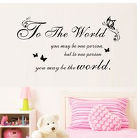 Wholesale Diy Removable Word Wall Stickers - DIY you may be the world Wall Sticker Quote Words Wall Papers Decal Vinyl Decor Mural Letter Wall Decals