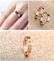 Wholesale Roman Wedding - Korean version of 18K rose gold Roman numeral diamond ring men and women couple tail ring ring jewelry wholesale