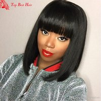 Wholesale Cheap Short Brown Hair Wig - Human Hair Fringe Bang Wigs Bob Glueless Full Lace Front Human Hair Brazillian Wig Cheap Short Wigs Human Wigs For Black Women