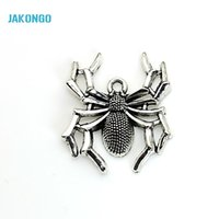 Wholesale charms for crafting - 8pcs Tibetan Silver Plated Spider Charms Pendants for Bracelet Jewelry Making DIY Handmade Craft 40x25mm