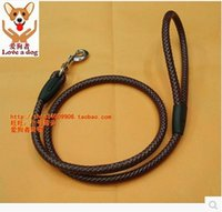 Wholesale Types Leather Harness - Popular color solid nylon imitation leather pet traction rope leash buffer type traction rope leads free shipping