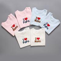 Wholesale I Love Mama Tee - 2 pcs Baby Cotton Short Sleeve T-shirt Unisex Boys Girls Tank Tops Stripe I Love Mama Papa Section Tops Tee