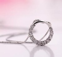 kristal kolye mıknatısı toptan satış-Yuvarlak Yüzük Gümüş Kolye Hiçbir Zincir 925 Ayar Gümüş Yuvarlak Matkap Kaplama Beyaz Bakır Kristal Oturma Mıknatıs Cam