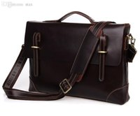 Wholesale Shoulder Bag Briefcase Men - Wholesale-Quality Real Genuine Leather Men Messenger Bags Cow Leather Business Portfolios Briefcase Men Travel Bags Shoulder Bag #VP-J7228
