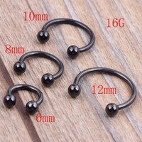 Wholesale Titanium Anodized Lip Rings - 100pcs 1.2*6 8 10 12*3m Titanium Anodized Stainless Steel Black Circular Barbell Septum Piercing Balls Horseshoe Lip Nose Ring