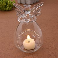 Wholesale Home holiday Christmas decorations creative transparent crystal glass angel candle holder wedding candlelight dinner gift